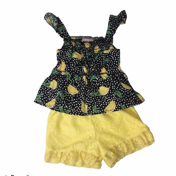 Lemons Ruffled Tank Top Yellow Shorts Set Sz 12M